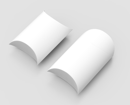 contain: two elevated view white 3d rendering left tilt blank pillow boxes, isolated gray background Stock Photo