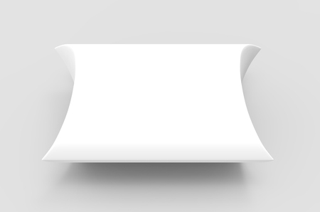 elevated view white 3d rendering blank pillow box, isolated gray background