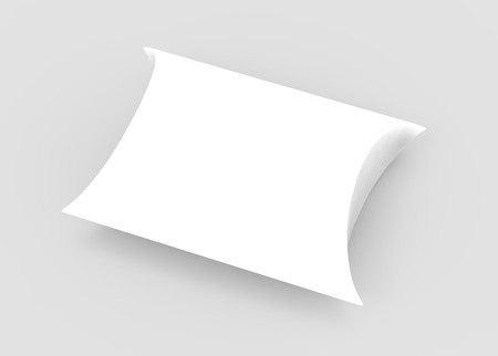 elevated view white 3d rendering right tilt blank pillow box, isolated gray background