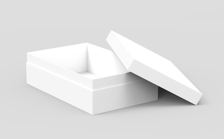 right tilt white 3d rendering blank rectangular open box with box separate lid, casually placed, isolated gray background, elevated view Stock fotó - 80704887
