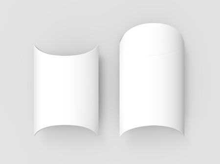 two white 3d rendering blank top view pillow boxes, isolated gray background