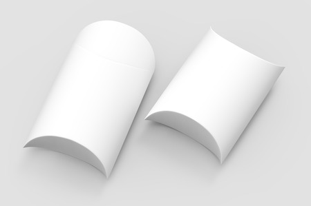 two left tilt white 3d rendering blank top view pillow boxes, isolated gray background