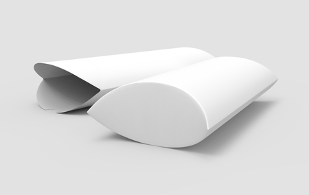 two side view white 3d rendering left tilt blank pillow boxes, one open, isolated gray background