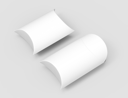 two elevated view white 3d rendering left tilt blank pillow boxes, isolated gray background Reklamní fotografie - 80704922
