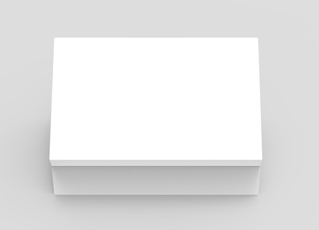 white 3d rendering blank rectangular box, isolated gray background, top view Stock fotó