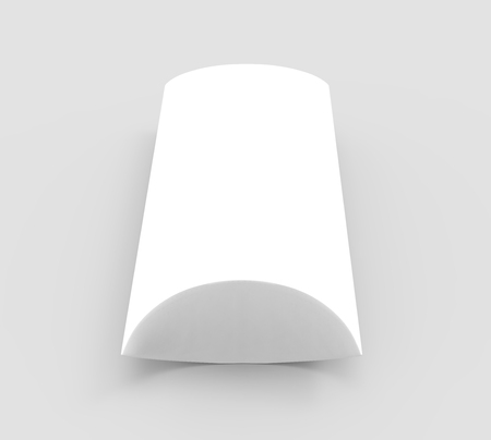elevated view white 3d rendering blank pillow box, isolated gray background Фото со стока - 80776015