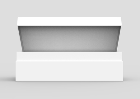 white 3d rendering blank rectangular open box with box separate lid, isolated gray background, side view Stock fotó