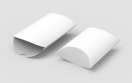 two elevated view white 3d rendering left tilt blank pillow boxes, one open, isolated gray background