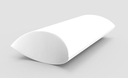 side view white 3d rendering left tilt blank pillow box, isolated gray background