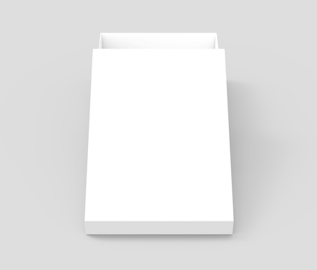 white 3d rendering blank open rectangular box with box separate lid, isolated gray background, top view