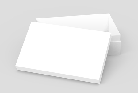 white 3d rendering blank rectangular open box with box separate lid, casually placed, isolated gray background, elevated view Stock fotó