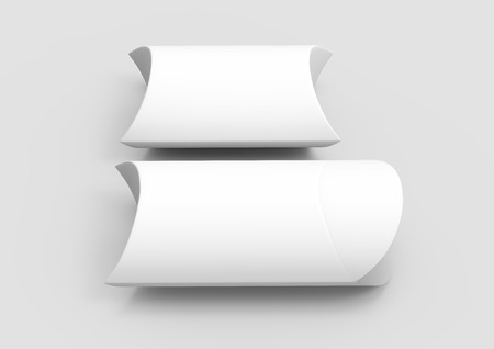two elevated view white 3d rendering blank pillow boxes, isolated gray background
