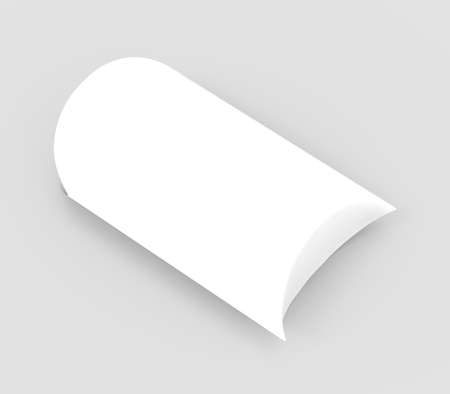 contain: elevated view white 3d rendering right tilt blank pillow box, isolated gray background