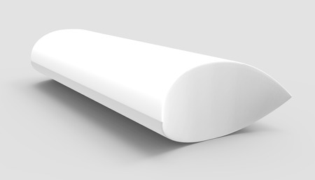 side view white 3d rendering right tilt blank pillow box, isolated gray background