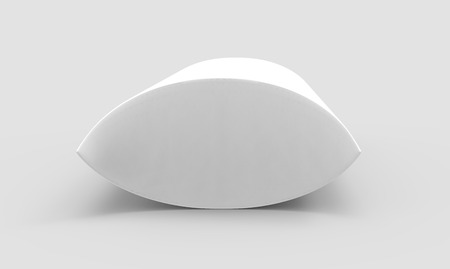 side view white 3d rendering blank pillow box, isolated gray background