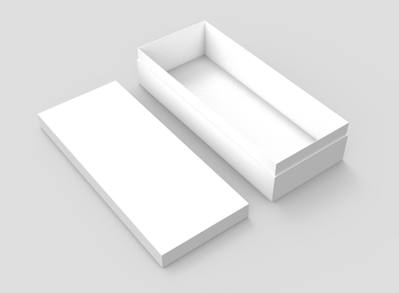 simulation: right tilt white 3d rendering blank rectangular open box with box lid on the ground, isolated gray background, elevated view Stock Photo