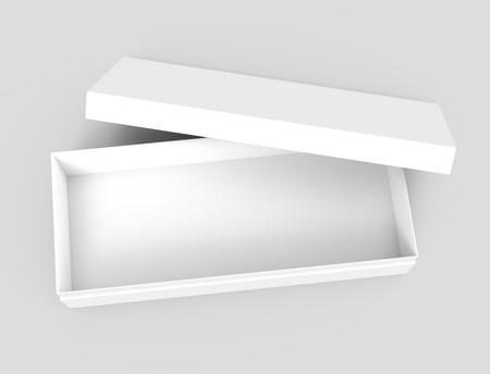 linker tilt witte 3D-rendering lege open rechthoekige doos met vak afzonderlijke deksel, terloops geplaatst, geïsoleerde grijze achtergrond, bovenaanzicht