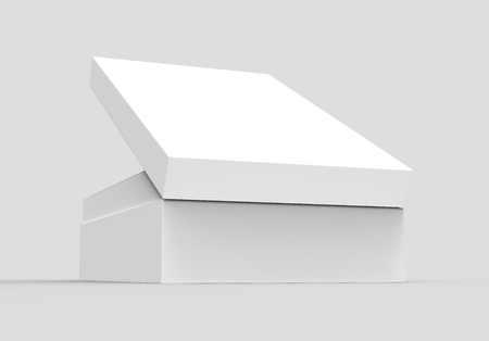 right tilt white 3d rendering blank rectangular open box with box separate lid, isolated gray background, side view Stock fotó