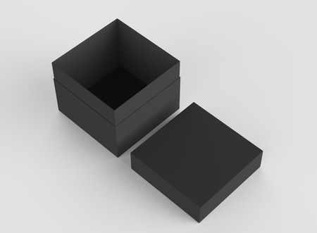 simulation: elevated view black 3d rendering blank square tilt box with separate lid, isolated gray background