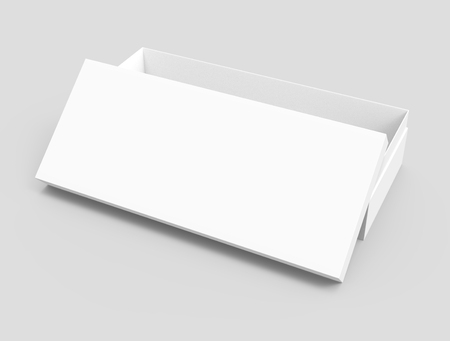 right tilt white 3d rendering blank rectangular open box with box separate lid, isolated gray background, elevated view Stock fotó