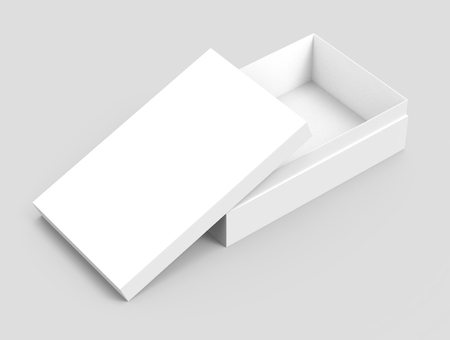 left tilt white 3d rendering blank rectangular open box with box separate lid, isolated gray background, elevated view Stock fotó
