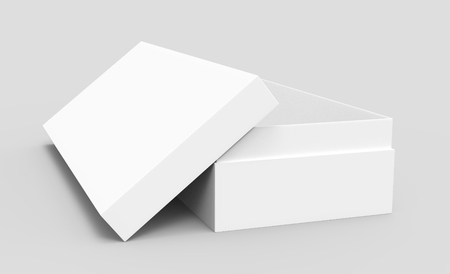 right tilt white 3d rendering blank rectangular open box with box separate lid, isolated gray background, side view 版權商用圖片