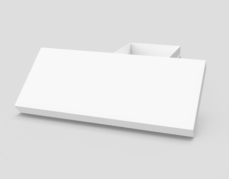 white 3d rendering blank rectangular open box with box separate lid, isolated gray background, elevated view Stock fotó