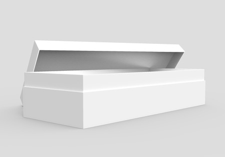 left tilt white 3d rendering blank rectangular open box with box separate lid, isolated gray background, side view