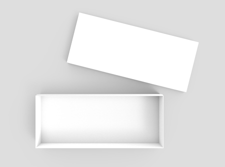 simulation: white 3d rendering blank open rectangular box with separated box lid, isolated gray background, top view
