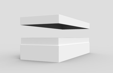 simulation: left tilt white 3d rendering blank rectangular open box with high floating box separate lid, isolated gray background, side view Stock Photo