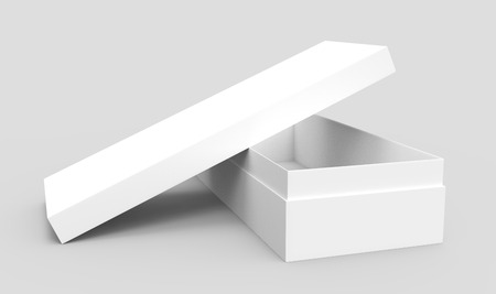 white 3d rendering blank rectangular open box with box separate lid, cross shaped, isolated gray background, elevated view