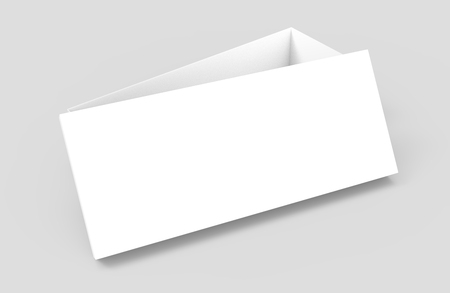 simulation: left tilt white 3d rendering blank rectangular open box with box separate lid, casually placed, isolated gray background, elevated view