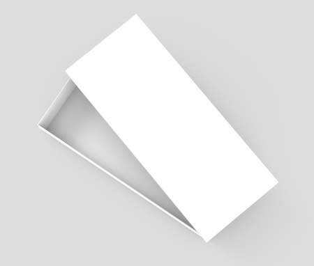 simulation: right tilt white 3d rendering blank open rectangular box with box separate lid, isolated gray background, top view Stock Photo
