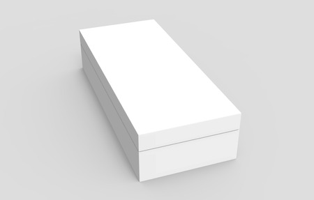 simulation: right tilt white 3d rendering blank rectangular box, isolated gray background, elevated view Stock Photo