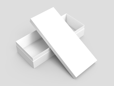 white 3d rendering blank rectangular open box with box separate lid, cross shaped, isolated gray background, elevated view Stock fotó - 80779267