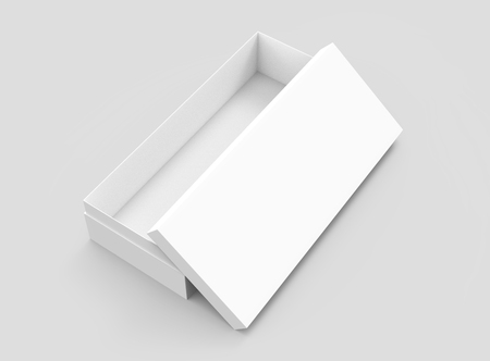 left tilt white 3d rendering blank rectangular open box with box separate lid, isolated gray background, elevated view 版權商用圖片