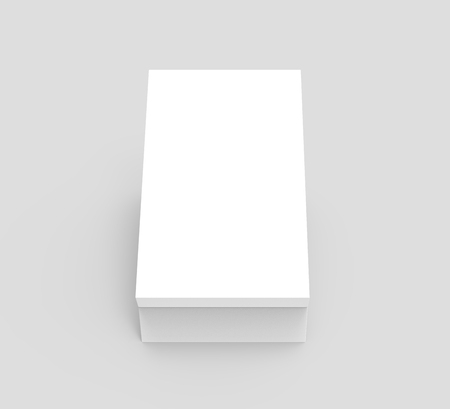 white 3d rendering blank rectangular box, isolated gray background, top view Stock fotó - 80779271