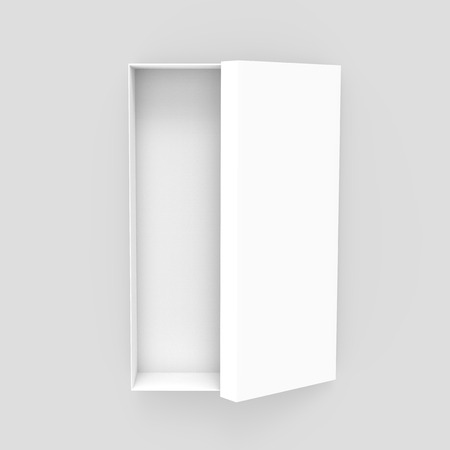 white 3d rendering blank open rectangular box with box separate lid, isolated gray background, top view Stock fotó - 80779272