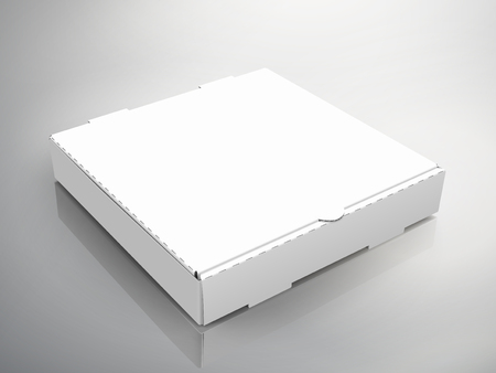 blank right tilt white pizza box, can be used as design element, isolated bicolor background, 3d illustration, top view Vectores