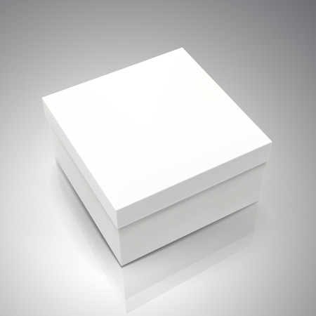 blank white spun paper box 3d illustration, can be used as design element, isolated gray background, elevated view
