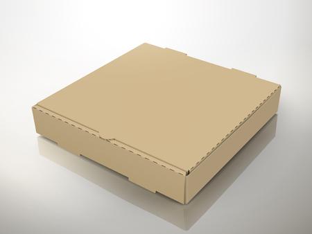 空白の左の茶色のピザの箱を傾けて、デザイン要素、孤立した灰色の背景、3 d イラスト、昇格を表示として使用することができます。  イラスト・ベクター素材