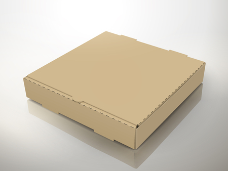 blank left tilt brown pizza box, can be used as design element, isolated gray background, 3d illustration, elevated view Illustration