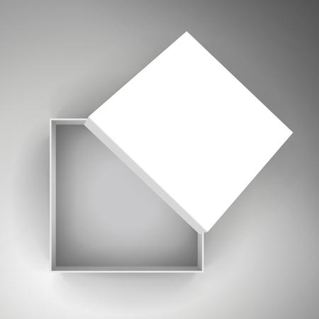 빈 흰색 종이 평면 절반 열려있는 상자 기울고 별도 뚜껑 3d 일러스트 레이 션, 디자인 요소로 사용할 수 있습니다. 바이 컬러 배경, 상위 뷰 일러스트