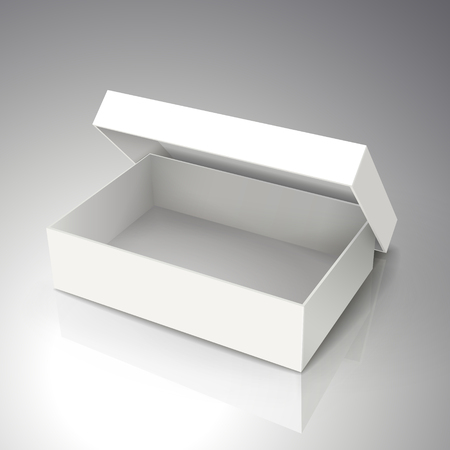 right tilt blank white paper half open box with leaning separate lid 3d illustration, can be used as design element, isolated bicolor background, elevated view