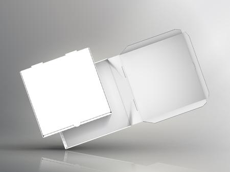 空白斜め 2 つの白いピザ ボックス 3 d イラスト、1 つのオープン、側ビュー分離二色背景