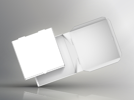 two slanting blank white pizza boxes 3d illustration, one open, side view isolated bicolor background