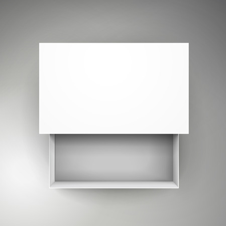 blank white paper flat half open box with separate lid 3d illustration, can be used as design element, isolated bicolor background, top view 版權商用圖片 - 80716314