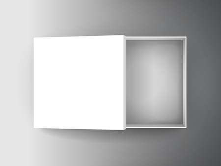 blank white paper flat half open box with separate lid 3d illustration, can be used as design element, isolated bicolor background, top view