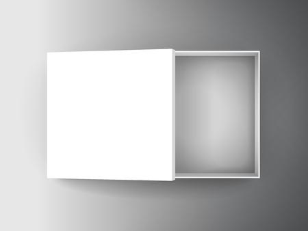 leeg Witboek plat half open doos met afzonderlijke deksel 3d illustratie, kan worden gebruikt als ontwerpelement, geïsoleerde bicolor achtergrond, bovenaanzicht Stock Illustratie
