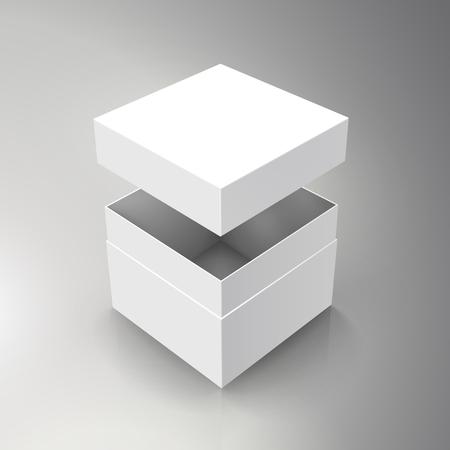 空白は白い紙箱を分社し、独立したフローティング 3 d イラストレーションの蓋、分離の二色の背景、デザイン要素上昇のビューとして使用できます